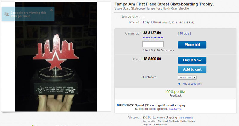 Tampa Am Trophy For Sale on Ebay