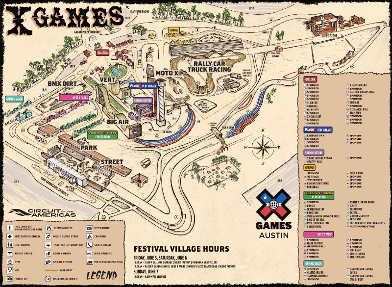 X Games 2015 Austin Texas Map