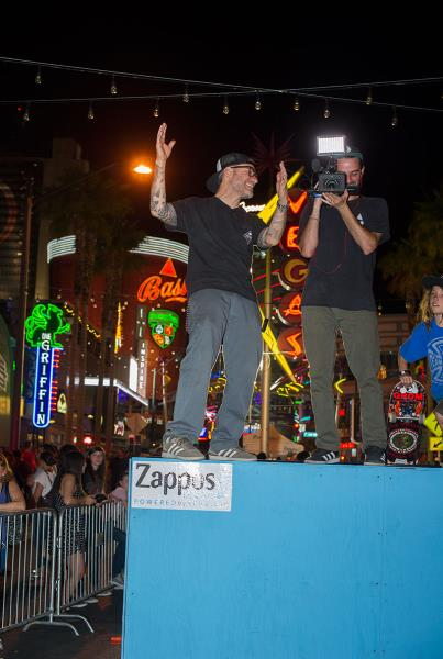 Clements and Joe at Zappos Rideshop in Vegas