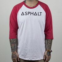$25.00 Asphalt Yacht Club Origin Raglan T Shirt, Color: Red, White