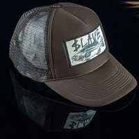$12.00 Slave Bass Destruction Trucker Hat, Color: Brown