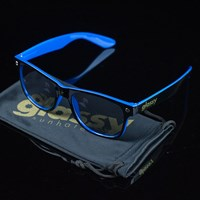 $15.00 Glassy Sunhaters Halfy Sunglasses, Color: Black, Blue