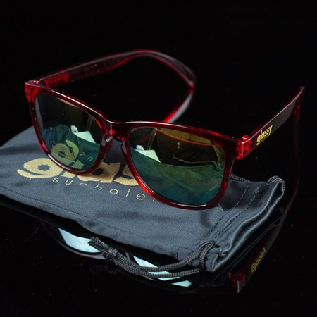 Glassy Sunhaters Deric Sunglasses Transparent Red, Red Mirror
