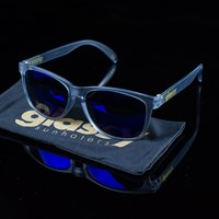 Glassy Sunhaters Deric Sunglasses, Color: Transparent Grey, Blue Mirror in stock.