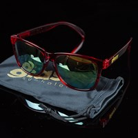 Glassy Sunhaters Deric Sunglasses, Color: Clear Red, Gold Mirror in stock.