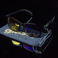 Glassy Sunhaters Deric Sunglasses, Color: Black, Red, Blue Mirror in stock.