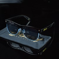 $20.00 Glassy Sunhaters Shredder Sunglasses, Color: Black, Blue Trim