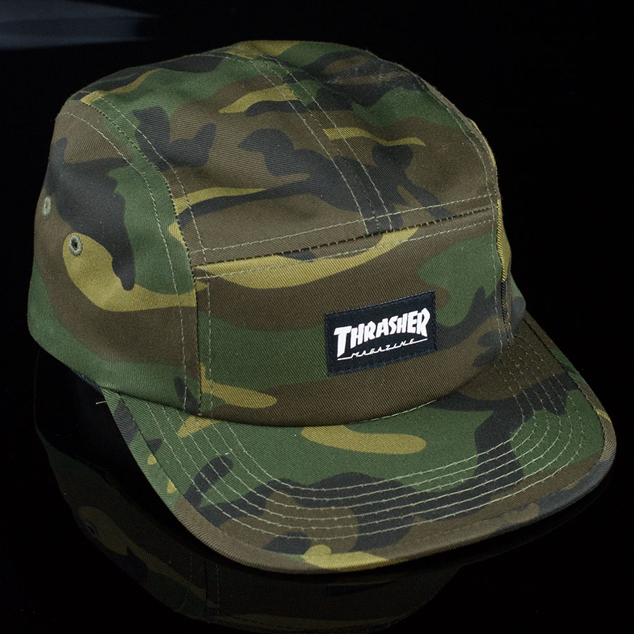 cc78ff73979 Thrasher 5 Panel Hat Camo In Stock at The Boardr
