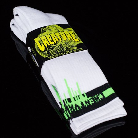 Creature Coxsockie Crew Socks, Color: White