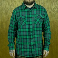 $55.00 Creature Hannibal Long Sleeve Button Up Shirt, Color: Black, Green