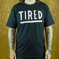 $20.00 Tired Tired Logo T Shirt, Color: Black
