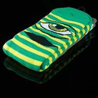 Toy Machine Sect Eye Stripe Socks, Color: Green, Yellow in stock.