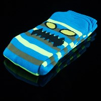 $8.00 Toy Machine Monster Stripe Socks, Color: Blue, Neon