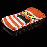 $8.00 Toy Machine Monster Stripe Socks, Color: White, Red