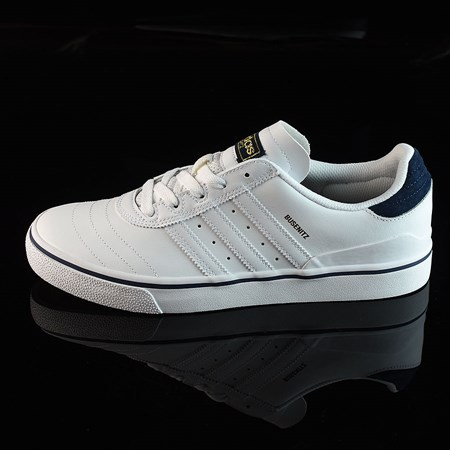 Size 8.5 in adidas Dennis Busenitz Vulc Shoes, Color: Running White, White, Navy