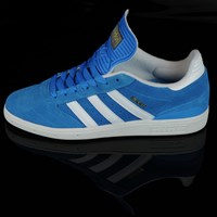 adidas Dennis Busenitz Signature Shoes, Color: Solar Blue, Running White, Metallic Gold in stock.