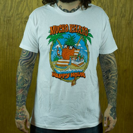 Happy Hour Shades Mucho Relaxo T Shirt, Color: White