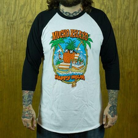 Happy Hour Shades Mr. Pineapple Baseball T Shirt, Color: Black, White