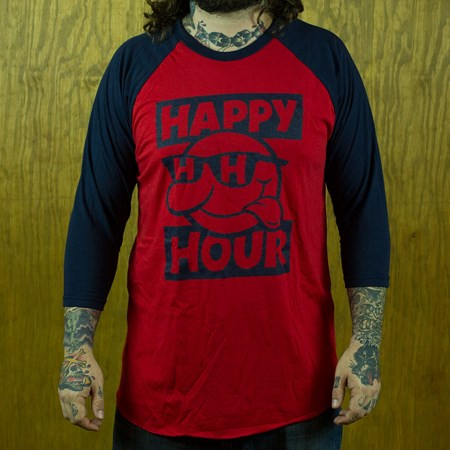 Happy Hour Shades Sonny Baseball T Shirt, Color: Navy, Red