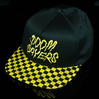 $30.00 Doom Sayers Checkered Snap Back Hat, Color: Black, Yellow