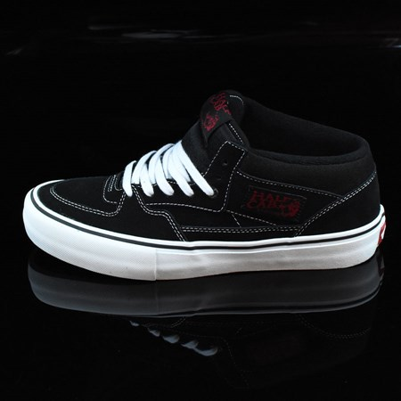 Size 10.5 in Vans Half Cab Pro Shoes, Color: Black, White, Red