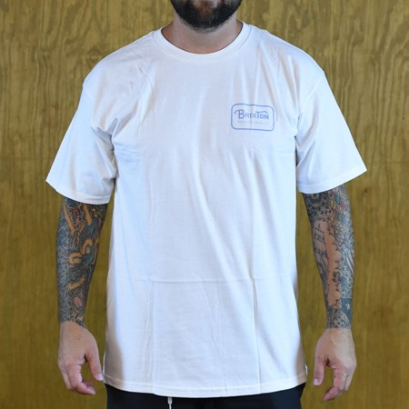 Brixton Grade T Shirt White, Blue