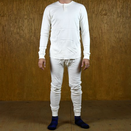 Size Large in Brixton Fargo Long Underwear Pants, Color: Off White