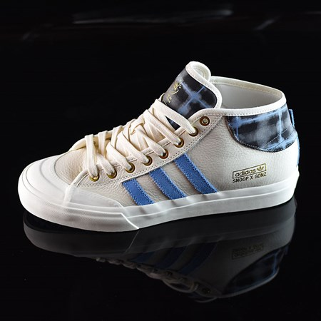 Size 8.5 in adidas Snoop X Gonz Matchcourt Mid Shoes, Color: White,  Light Blue, Gold