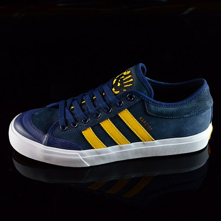 Size 10.5 in adidas adidas X Hardies Matchcourt Shoes, Color: Navy, Yellow, White