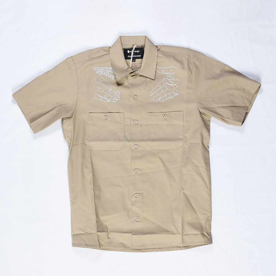 Dsc x knowledge western button up shirt khaki in stock at for Khaki button up shirt