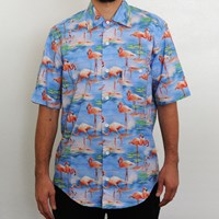 $60.00 RIPNDIP Flamingo Short Sleeve Button Down Shirt